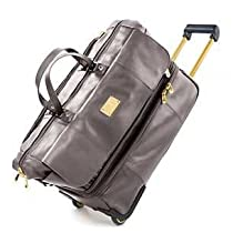 Joy Mangano New York Edition Leather Double Decker Duffle Graphite