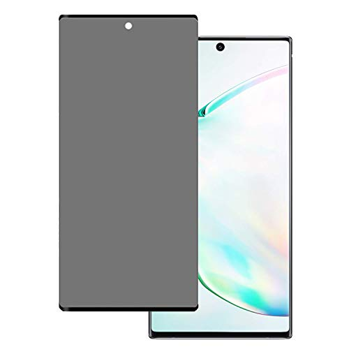 Galaxy Note 10 Plus Screen Protector Privacy Tempered Glass, Audins Case Friendly 3D Curve Edge Easy Install Anti Spy Anti Scratch 9H Hardness Shield for Samsung Galaxy Note 10 Plus (Black) (Edge Mirror Protector Screen Note)