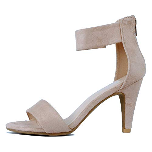 Susanny Womens Strappy Sandals Open Toe Sexy High Heels Summer Pumps Wedding Party Dress Shoes Khaki 9.5 B (M) US