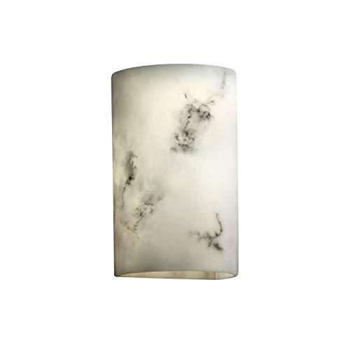 Justice Design Group Lighting FAL-0945-LED1-1000 LumenAria - Small Cylinder - Open Top & Bottom Wall Sconce (No Metal) - Faux Alabaster - LED Indoor
