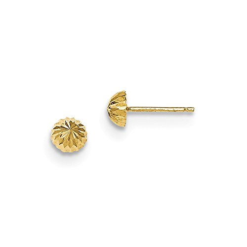 14k Yellow Gold 5mm Domed Post Stud Earrings Ball Button Fine Jewelry Gifts For Women For - Earrings Button Domed