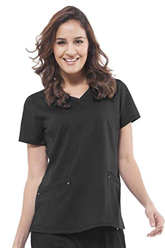 (Purple Label Yoga Juliet 2245 V-Neck Scrub Top with Stretch Side Panels- Black- X-Small)