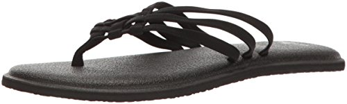 Sanuk Women's Yoga Salty Flip-Flop, Black, 08 M US