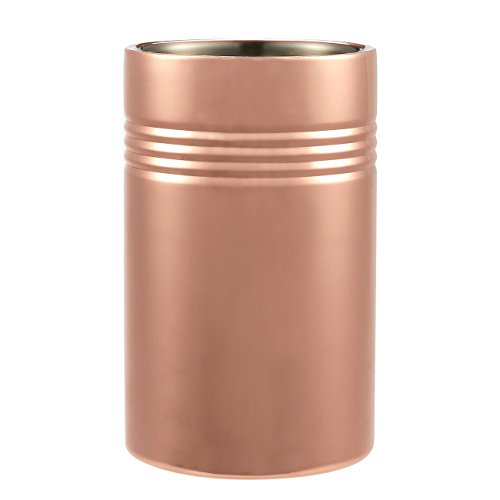 Wine Chiller - Ice Bucket - Copper Plated Stainless Steel Wine Cooler - Double Wall Insulation, 4-5/8 Dia x 7-3/4 Inches in Height