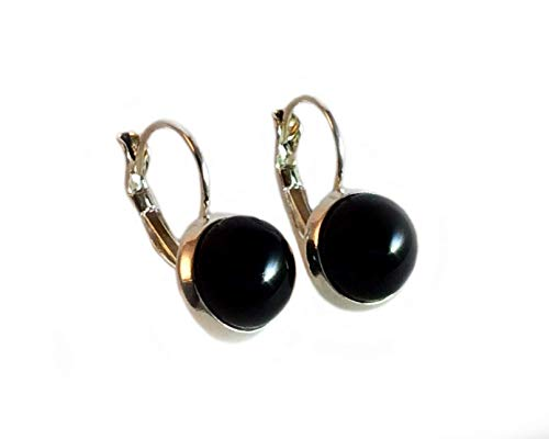 Fused Glass and 925 Sterling Silver Solid Black Earrings by Gerty