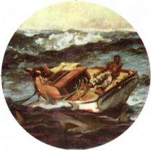Winslow Homer Gulf Stream Sharks Keychain