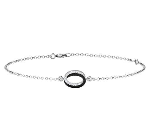 Libertini bracelet argent 925 femme plaque or Rose serti de Diamant en forme de Ovale