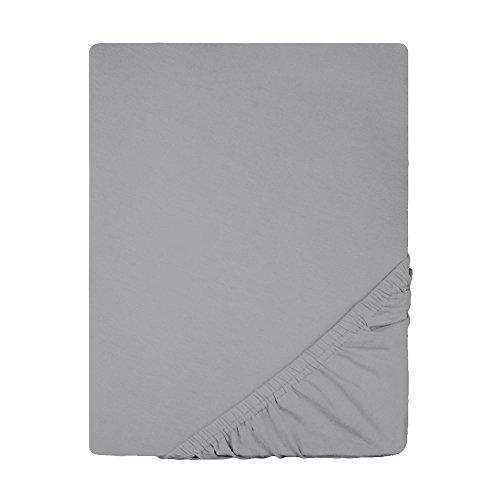 Spannbettlaken Jersey Baumwolle   viele Farben alle Größen   Spannbetttuch für Standardmatratzen   140 x 200 bis 160 x 200 CelinaTex 0002793 Lucina dunkel-grau