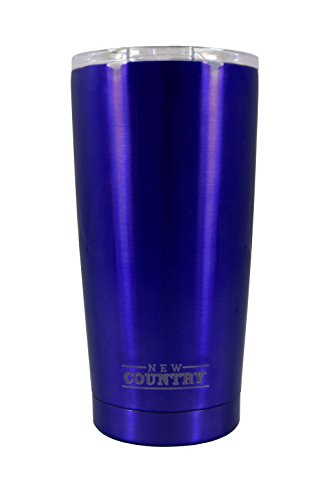 GHP double Wall Vacuum Insulated Stainless Steel Travel Tumbler, 20 oz, Blue, - Pompano Fit You