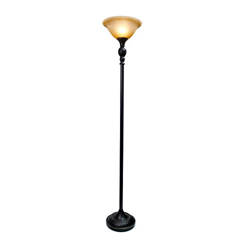 Amber Living Room - Elegant Designs LF2001-RBZ 1 Light Torchiere Floor Lamp with Marbelized Amber Glass Shade, 3.9, Restoration Bronze