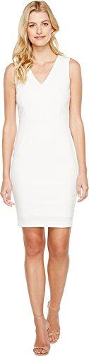 Calvin Klein Women's V-Neck Sheath Dress With Sheer Back Panel, White/Black, 12
