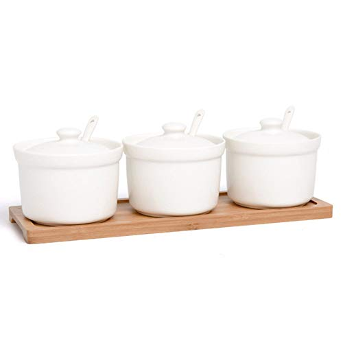 (OnePine Set of 3 Ceramic Spice Jar Sugar Bowl Condiment Pots Seasoning Container with Lids Spoons and Wooden Tray for Home and Kitchen)