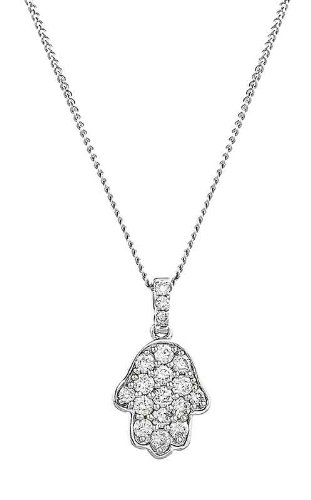0.45CT Certified G/VS2 Round Brilliant Cut Hand Shape Diamond Pendant in 18K White Gold