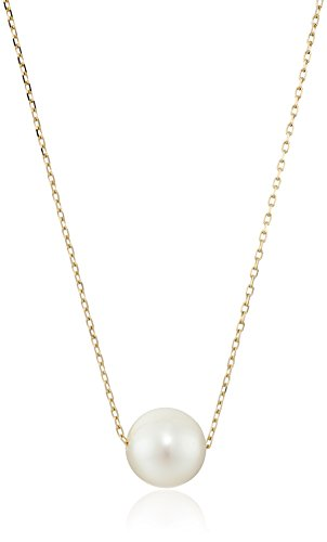 Cultured Pearl 14k Gold Necklace - 14k Yellow Gold 10mm Freshwater Cultured Pearl Chain Necklace, 18