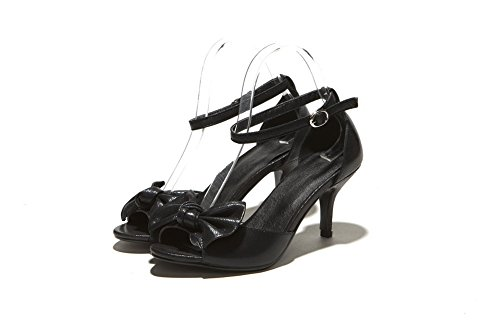 Amoonyfashion Mujer's Open Toe Kitten Heels Soft Material Solid Hebilla Sandalias Negro