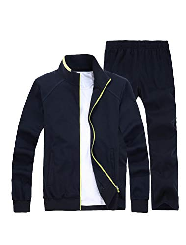 Lavnis Men's Casual Tracksuit Long Sleeve Full Zip Running Jogging Athletic Sports Set 2XL Blue ()