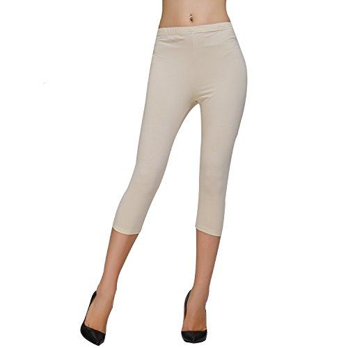 DIAMONDKIT Stretch Cotton Capri Crop Leggings Tights (S, Oatmeal) ()