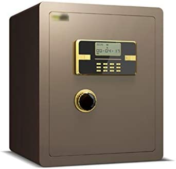 QFFL Caja Fuerte,Safe Caja Fuerte Electrónica Digital, Caja De Seguridad con Función De Alarma para Oficina En Casa, Montado En La Pared/Piso, Oro Marrón Safe Box: Amazon.es: Electrónica