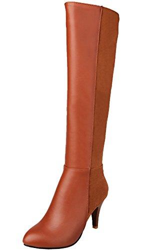 BIGTREE Knee High Boots Women PU Leather Casual Zipper Block Autumn Winter High Heel Riding Boots Brown
