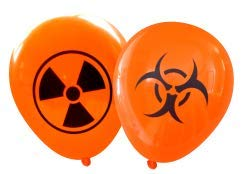 Radioactive and Biohazard Latex Balloons (16 pcs) by Nerdy Words (Orange) -