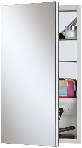 Broan-NuTone 704317 Meridian 15″ x 25″ Frameless 1/2″ Polished Edge Mirror Electrified Medicine Cabinet, Basic White