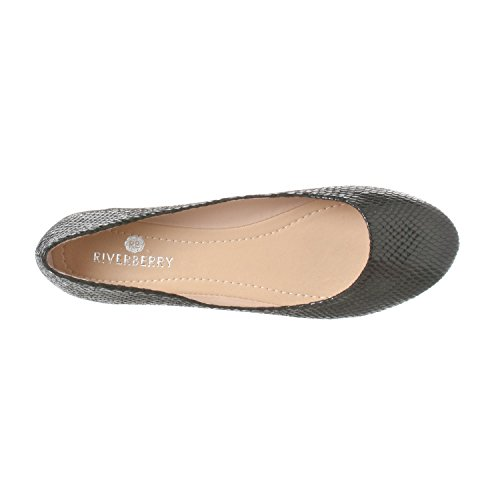 Riverberry Damen Aria Basic Geschlossene Runde Zehe Ballett Flache Slip On Shoe Schwarze Schlange