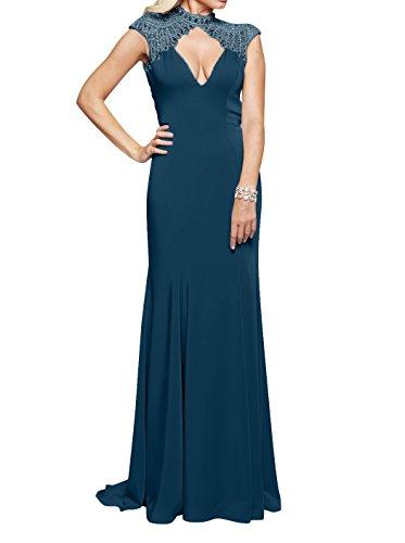 Rock Blau Abendkleider Ausschnitt Festlichkleider Partykleider Meerjungfrau Kleider V Braut Lang La mia Standsamt Tinte Sexy qxwn67fyaX