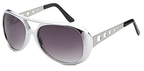 WebDeals - Classic Elvis Style Celebrity Aviator Shades (Silver, Smoke) (Las Vegas Halloween Costume)