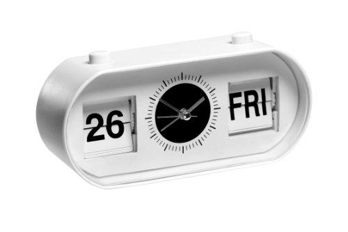 Premier Oblong Flip Alarm Clock Desk Top Beside Clock With Calendar Display - ()