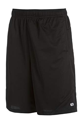 Layer 8 Men's Short Quickdry Basketball 10.5 Inch Inseam Extra Mile Short with Two Side Pockets (Small, Black Pinhole) 2 Side Inseam Pockets