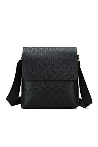 Mens Bag Crossbody Men Purse Messenger Bag Soft Faux Leather Shoulder Bags for Work Business(Black)