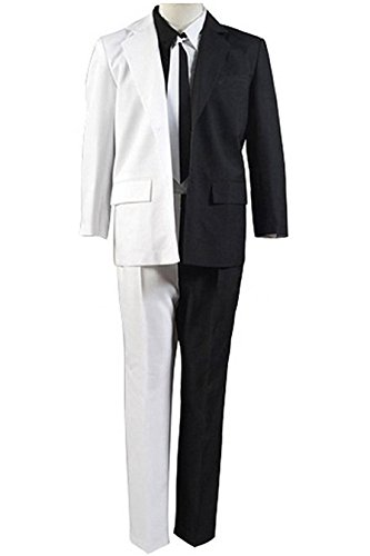 TISEA Halloween Cosplay Costume Black/White Two-Face Uniform Outfit (L) - Two Face Cosplay Costume