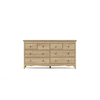 Tvilum Silkeborg 8 Drawer Double Dresser Riviera Oak - Crown Molding at Top, distinct decorative Molding along the bottom Six drawers with knob handles Provides ample storage - dressers-bedroom-furniture, bedroom-furniture, bedroom - 315%2B6l3LkUL. SS400  -