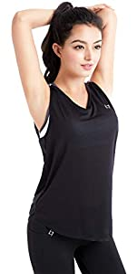 FITTIN Women's Training Tank Tops Black - Activewear for Yoga Sports Fitness Workout Clothes with Open Back Large