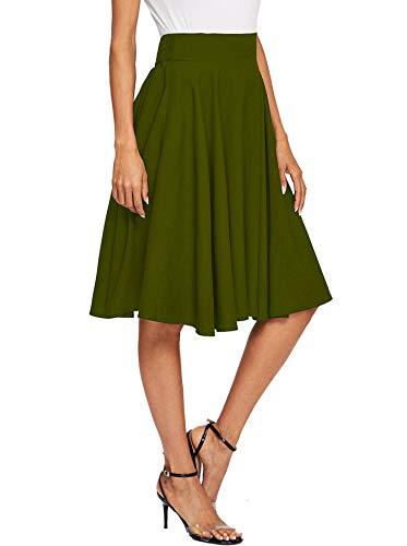 Floerns Women's Pleated High Waist Knee Length A Line Midi Skirt Green L