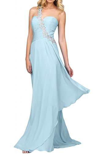 Por la noche la gasa nupcial modern en forma de corazón de la Toscana vestidos de novia vestidos de fiesta de vírgenes de largo vestidos de Prom vestidos de bola Hell Himmel Blau