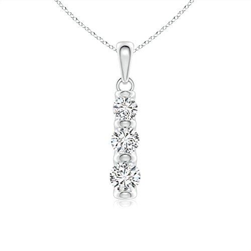 Three Stone Diamond Journey Pendant in Platinum (3.6mm Diamond)