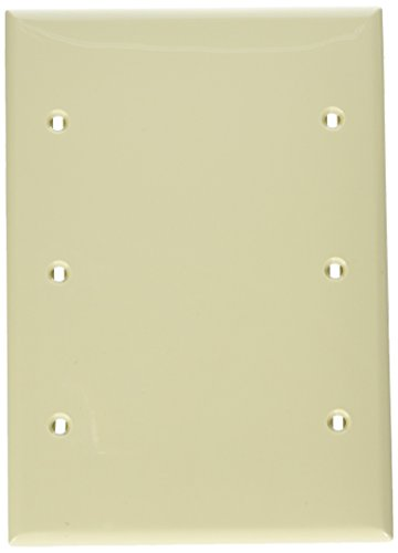 Leviton 80735-I 3-Gang No Device Blank Wallplate, Standard Size, Thermoplastic Nylon, Box Mount, Ivory