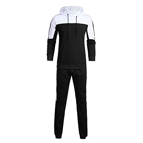 QBQCBB Men's Autumn Sports Suit Patchwork Sweatshirt Stitching Color Tops Pants Sets(Black,XXL) from QBQCBB