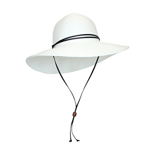 White Packable Cotton Fabric Sun Hat, Wide Circle Brim w/ Chin Strap, UPF 50+