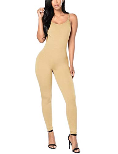 Amilia Womens Spaghetti Strap Bodycon Tank One Piece Jumpsuits Rompers Playsuit (L, Khaki)