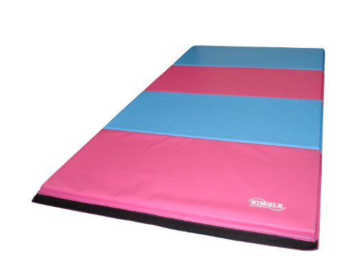 8ft x 4ft Firm Folding Gymnastics Mat - Pink / Light Blue