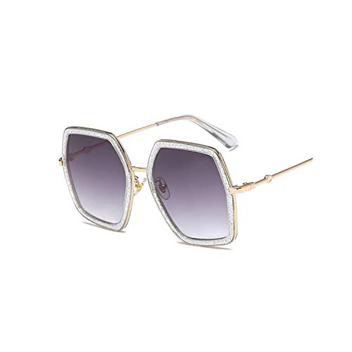 Trendy Hexagon Sunglasses Women Colorful Gradient Eyewear Retro Irregular Octagon Sunglasses,ShiningGray