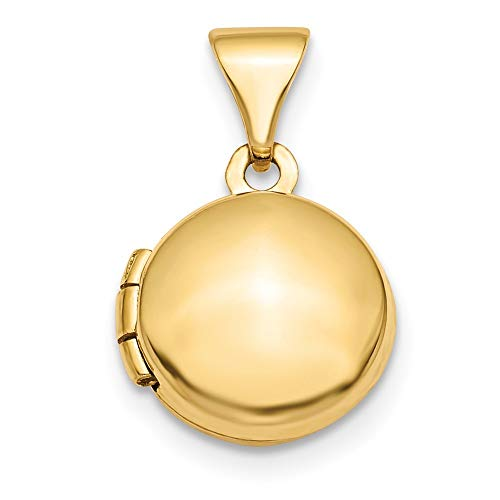 (14K Yellow Gold Polished Domed 10mm Round Locket from Roy Rose Jewelry)