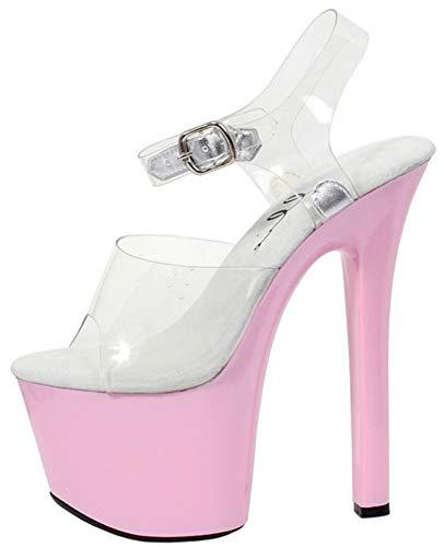 Ellie Shoes E-711-Flirt-C 7 Heel Clear Bottom Sandal Clear/Pink / 10