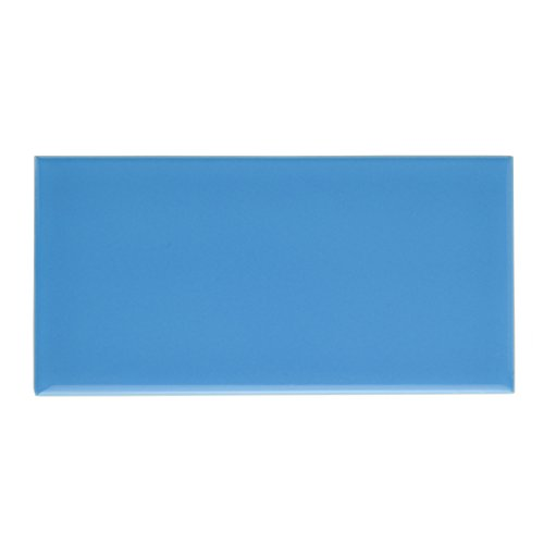 SomerTile WXR3PSCB Pente Subway Ceramic Wall Tile, 3'' x 6'', Glossy Calm Blue by SOMERTILE