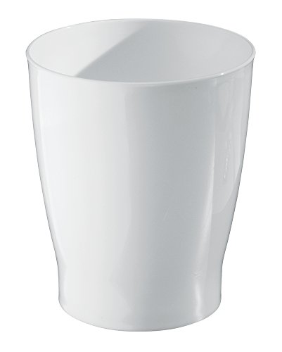 Kids Wastebaskets (mDesign Slim Round Plastic Small Trash Can Wastebasket, Garbage Container Bin for Bathrooms, Powder Rooms, Kitchens, Home Offices, Kids Rooms - White)