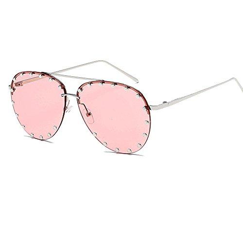 4db6f459e7 BVAGSS Women Rimless Oversized Aviator Sunglasses Colorful Lens Rivet  Fashion WS027 (Silver Frame