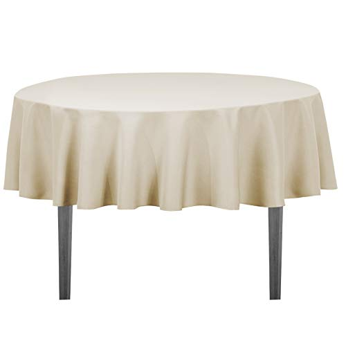 LinenTablecloth 70-Inch Round Polyester Tablecloth Beige