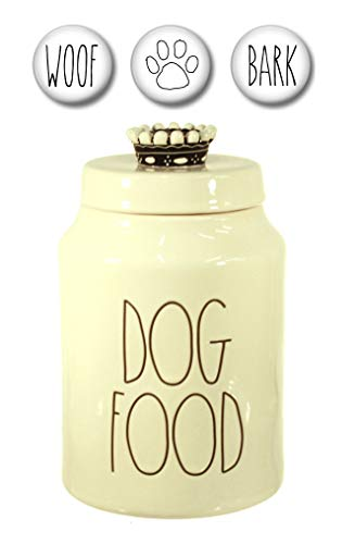 Rae Dunn DOG FOOD Treats Canister with Set of 3 Woof, Bark and Paw Print Fridge Magnets Gift Set Large Letter LL Pottery